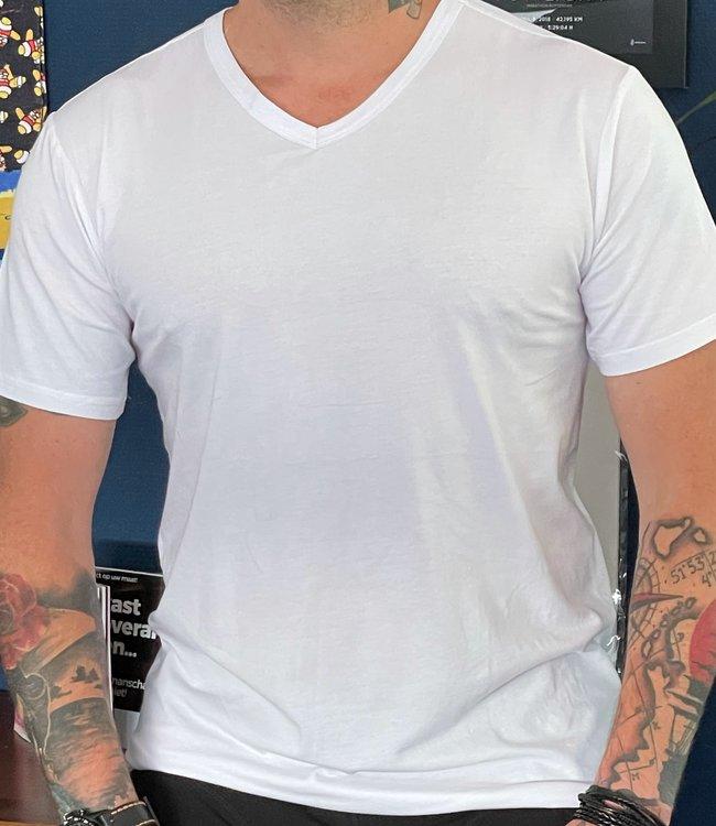 APOLLO Bamboo heren t-shirt V-hals Wit   2 paar