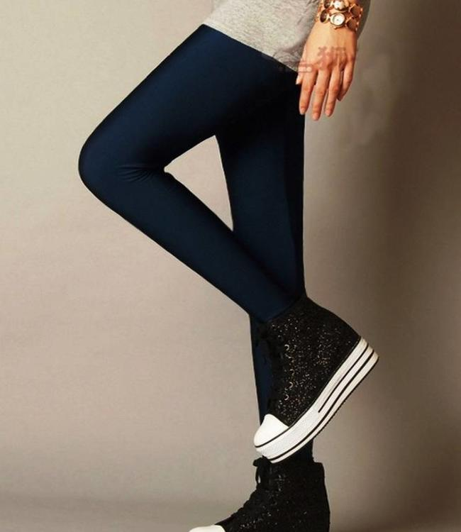 Marcmarcs Leatherlook legging Donkerblauw