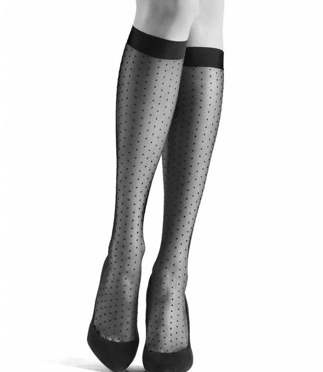 OROBLU Adelle Dots 20 luxe zwarte kniekousen