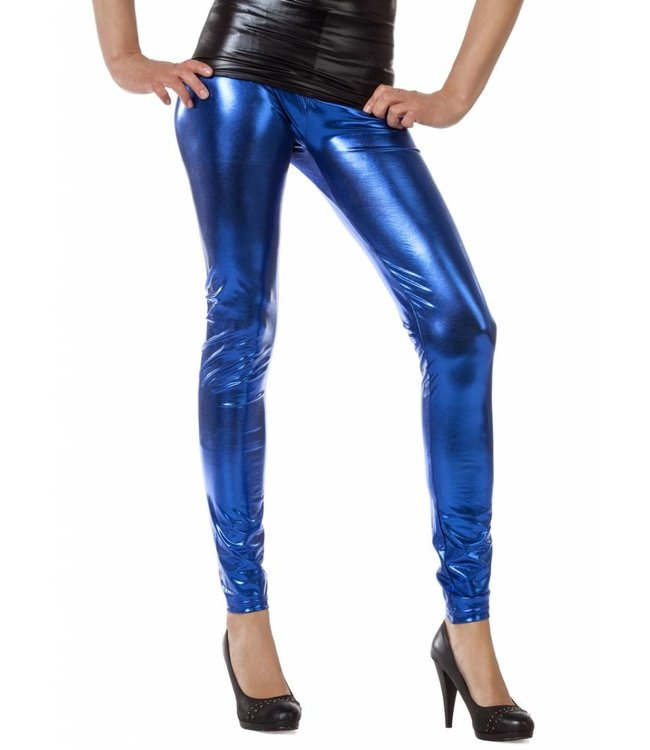RE-LEGS Gracy blauwe Wetlook legging