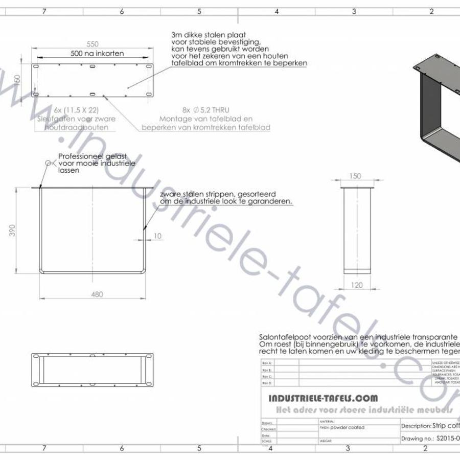 Handgemaakt industrieel salontafel onderstel Strip poot Zwaar
