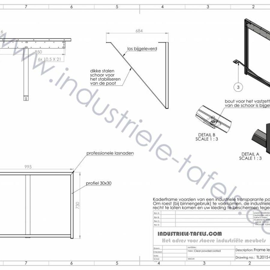 Tafelonderstel Frame 3x3 tafelpoot zwart