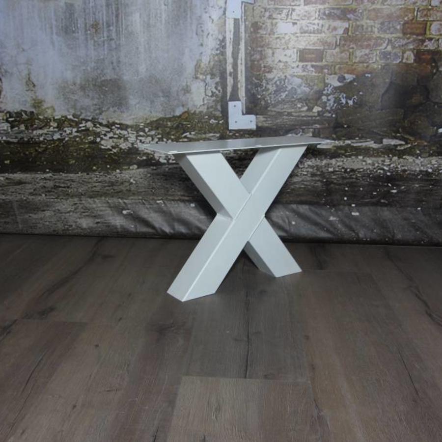 Handgemaakte industriele Salontafel poten model X standaard WIT