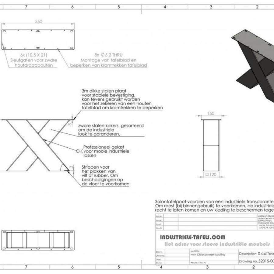 Handgemaakte industriele Salontafel poten model X Zwaar zwart