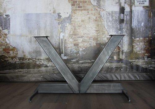 Tafelonderstel V tafelpoot onbehandeld staal