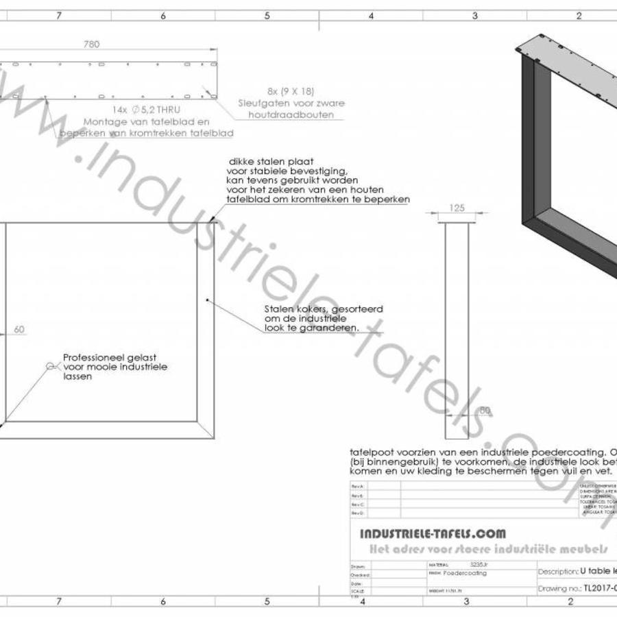 Handgemaakte Industriele tafelpoten model U Standaard zwart