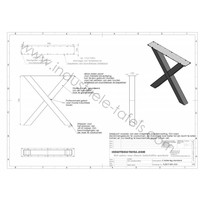 Handgemaakte industrieel tafelonderstel, model X WIT (kruispoot) Standaard