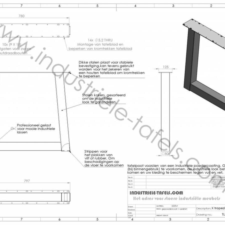 Handgemaakt Industrieel tafelonderstel Trapezium poot Standaard zwart