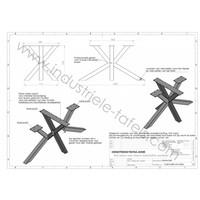 Handgemaakt industrieel tafelonderstel Matrix 8x8 tafelpoot zwart