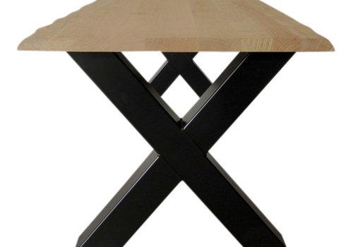 Industriële tafel met X tafelpoten