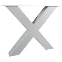 Industriële tafel voorzien X tafelpoten en eiken tafelblad.
