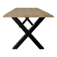 Industriële tafel voorzien standaard X tafelpoten en eiken tafelblad