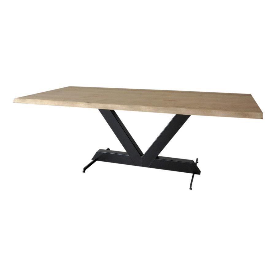 Industriële tafel voorzien van tafelonderstel light V tafelpoot