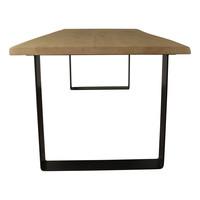 Industriële tafel voorzien van strip tafelpoten en eiken tafelblad