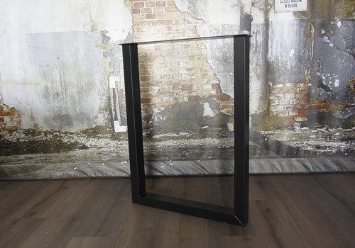 Industriële U BAR (salon)tafelpoot 8x6 zwart / wit
