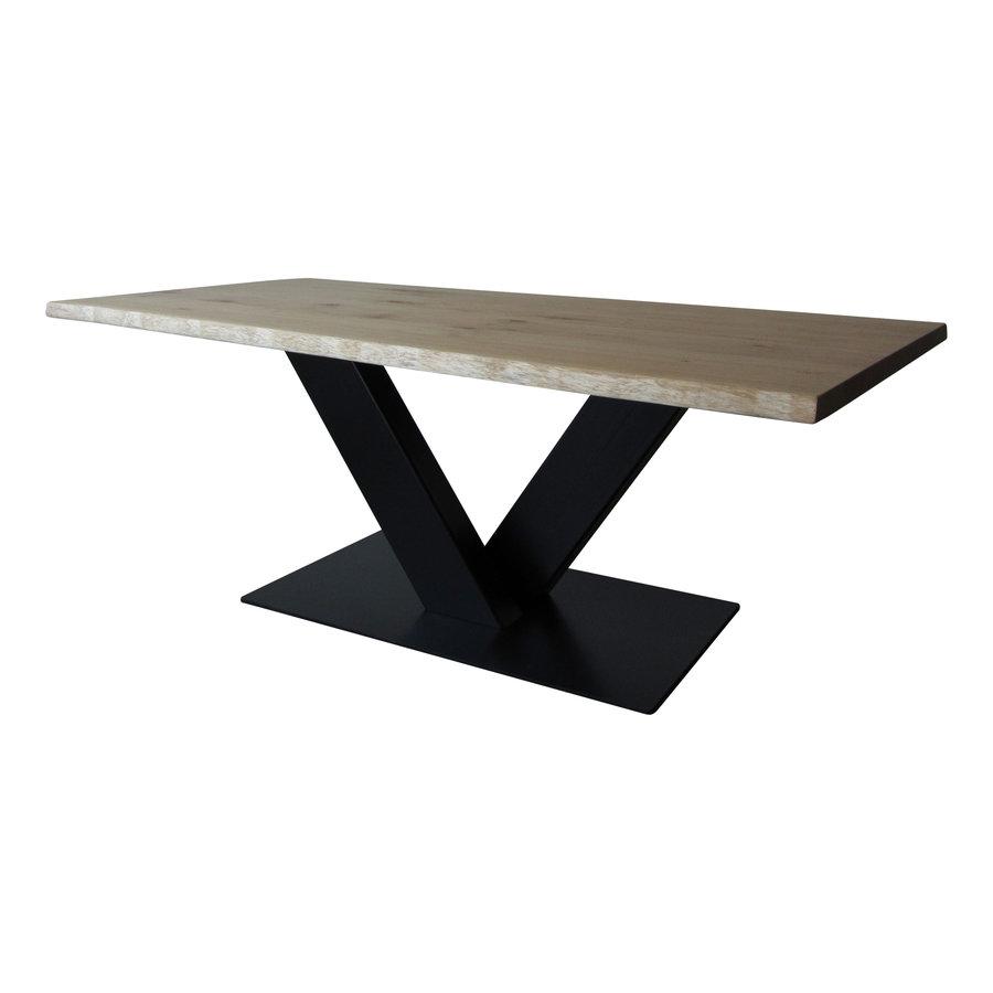 Industriële tafel voorzien van tafelonderstel V tafelpoot