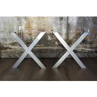 Handgemaakt industrieel tafelonderstel X poot standaard CHROOM