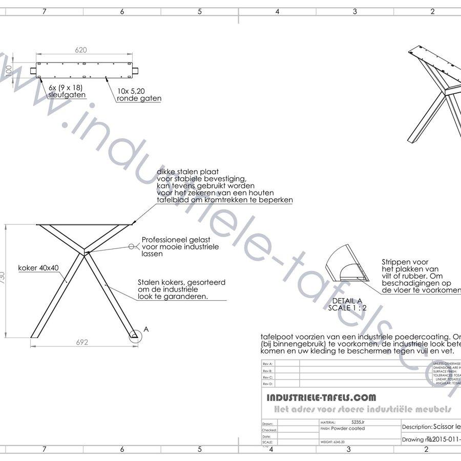 Handgemaakt Industrieel tafelonderstel Scissor poot zwart