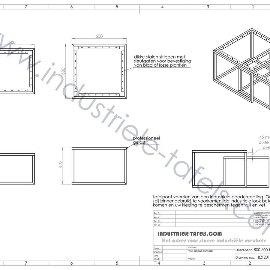 Vierkante stalen salontafel frames