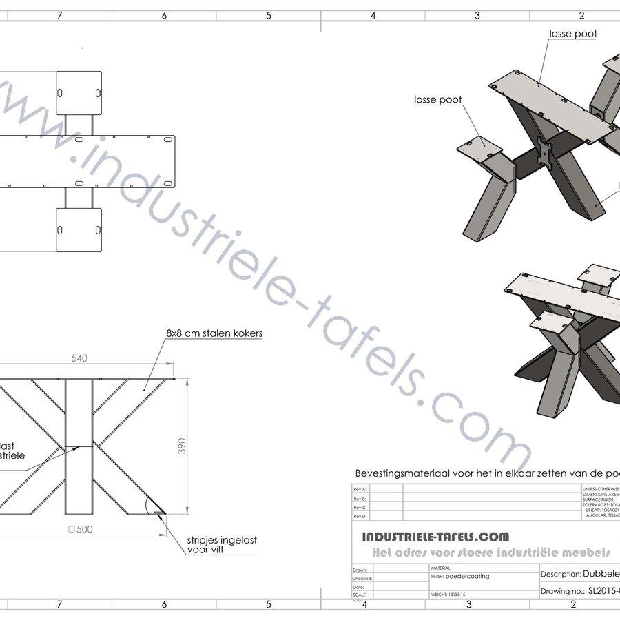 Stalen salontafelonderstel model dubbele kruispoot