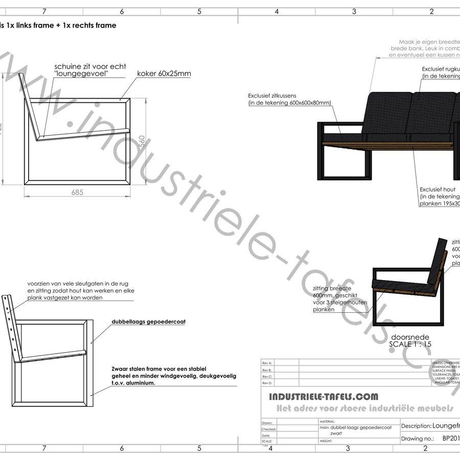 Los stalen loungebank frame / loungestoel frame