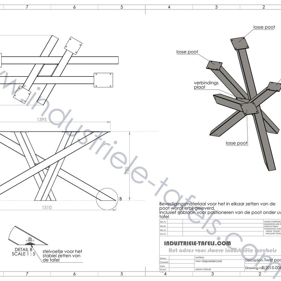 Handgemaakt industrieel tafelonderstel Twist 8x8 tafelpoot WIT
