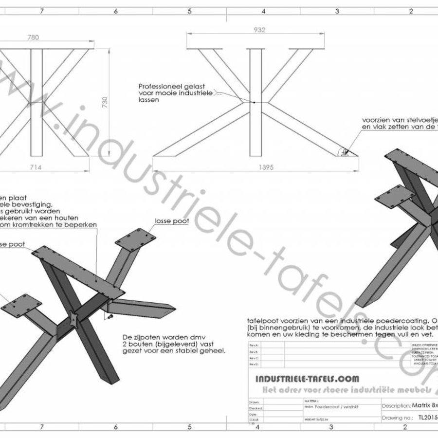 Handgemaakt industrieel tafelonderstel Matrix 8x8 tafelpoot chroom