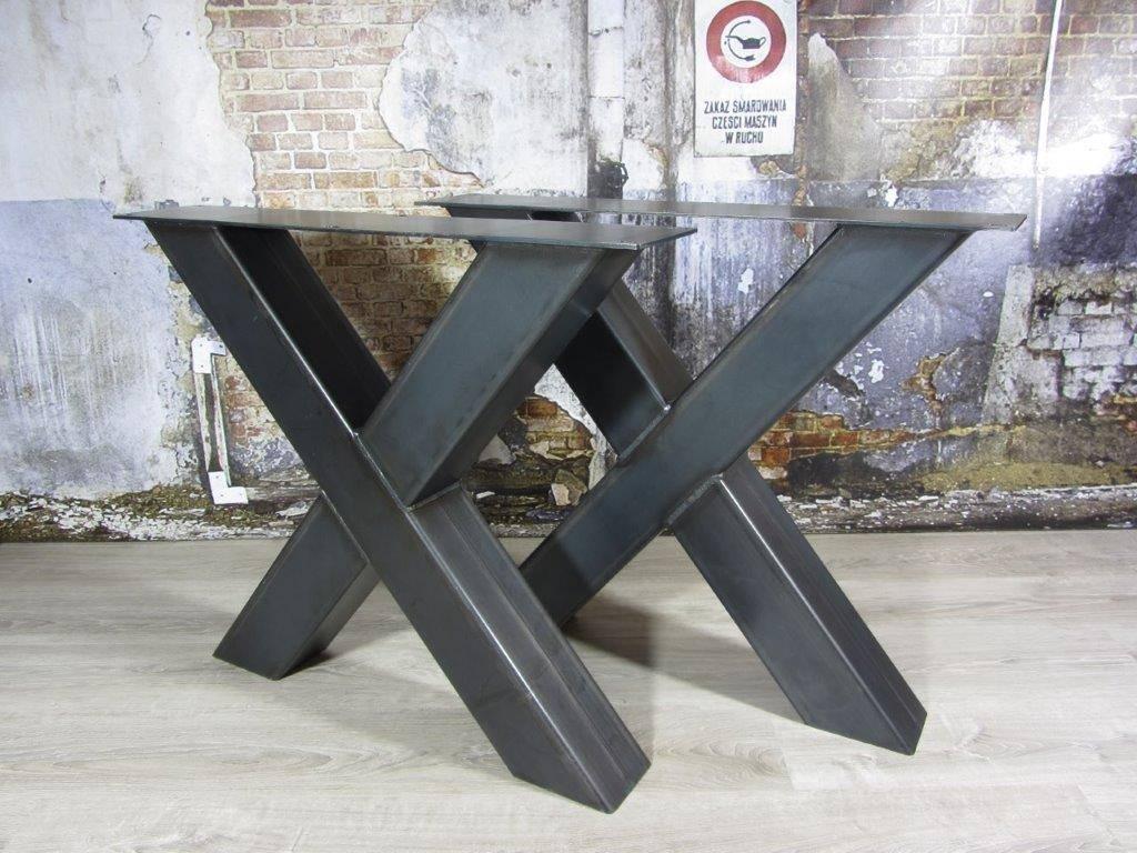 Tafel X Poot Staal.Handgemaakt Industrieel Tafelonderstel X Poot Zwaar Kruispoot
