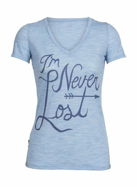 Icebreaker  ICEBREAKER W´s Tech Lite Short Sleeve V Never Lost - Mist Blue Heather