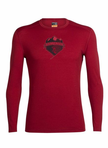 Icebreaker  ICEBREAKER Mens Oasis Long Sleeve Crewe - Oxblood
