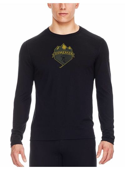 Icebreaker  ICEBREAKER Mens Oasis Long Sleeve Crewe - Black