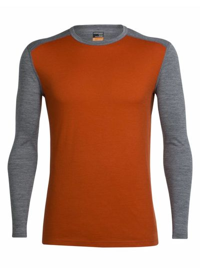 Icebreaker  ICEBREAKER Mens Oasis Long Sleeve Crewe - Copper Gritstone Heather
