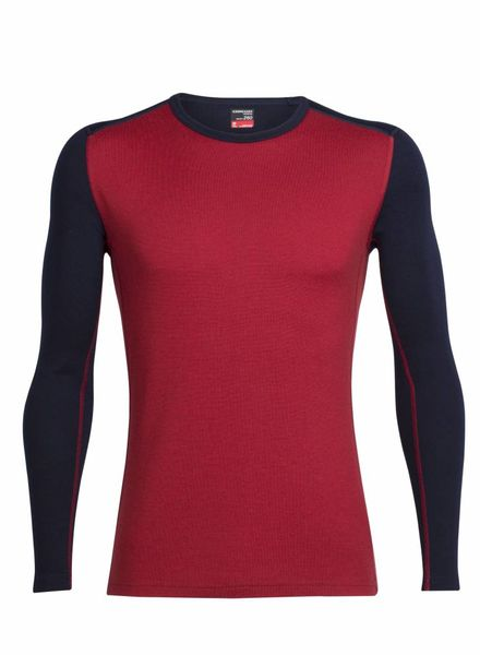 Icebreaker  ICEBREAKER Mens Tech Top Long Sleeve Crewe Merino - Oxblood