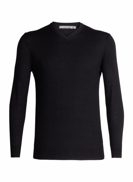 Icebreaker  ICEBREAKER Mens Shearer V Sweater - Black