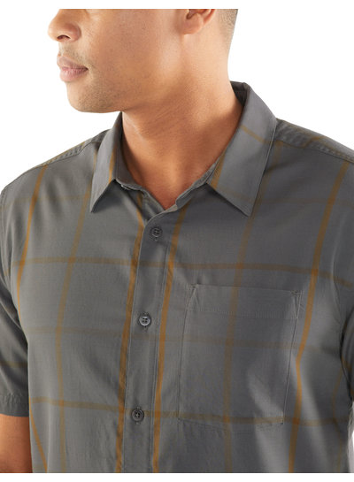 Icebreaker  ICEBREAKER Mens Compass Short Sleeve Shirt - Timberwolf Tobacco