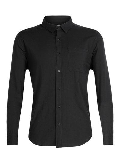 Icebreaker  ICEBREAKER Mens Compass Flannel Long Sleeve Shirt - Black