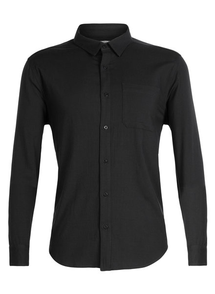 Icebreaker  ICEBREAKER Mens Compass Flannel Long Sleeve Shirt - Black