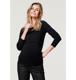 Noppies Noppies zwangerschapsshirt met voedingsfunctie Corley zwart