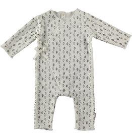 BESS Babykleding Bess Baby Suit aop Leaves Organic wit