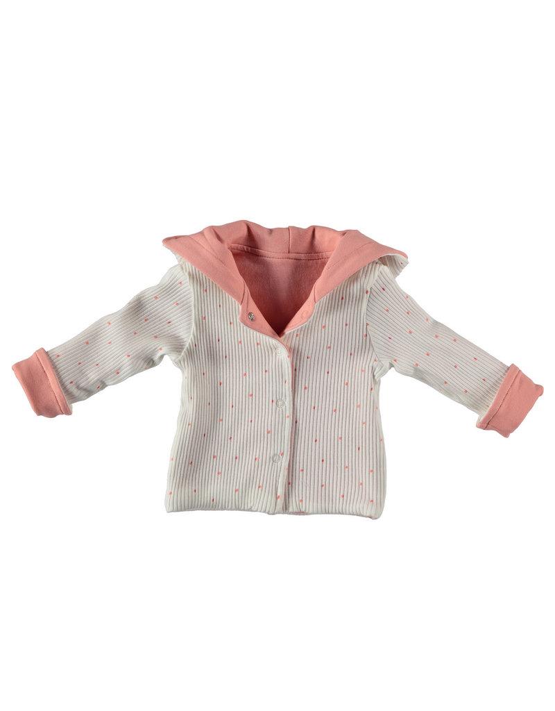 BESS Babykleding Bess Vestje hoody Reversible Organic dusty rose BO3009 038
