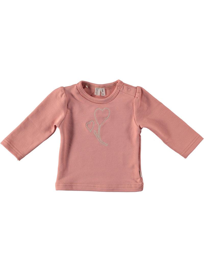 BESS Babykleding Bess Shirtje  Rib Embroidery Organic dusty rose BO3012 038