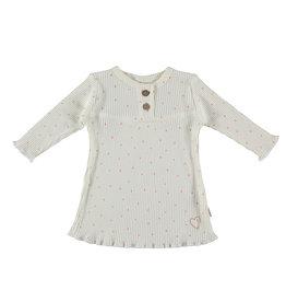 BESS Babykleding Bess Girl Dress Dots Rib Organic wit