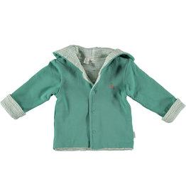 BESS Babykleding Bess Baby Vestje hoody Reversible Green organic cotton