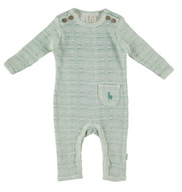 BESS Babykleding Bess Baby Suit Rib Striped Green organic cotton