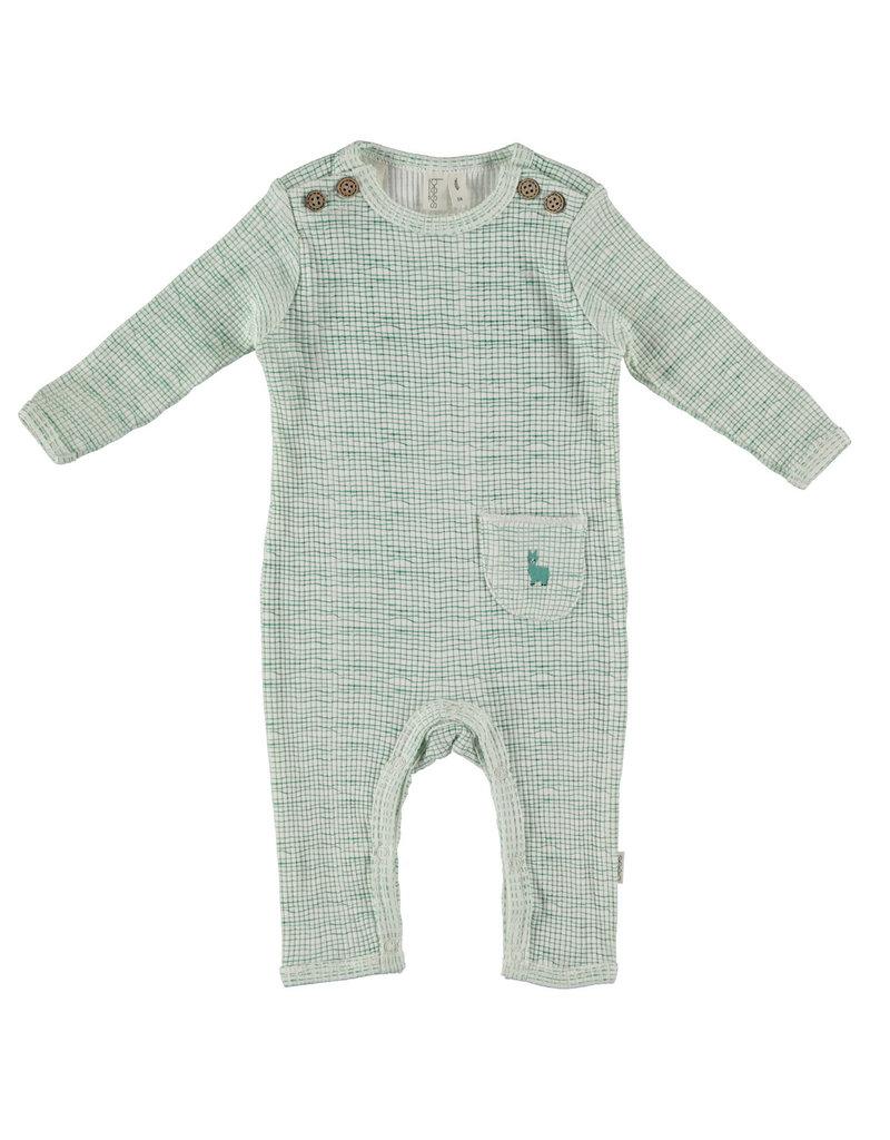 BESS Babykleding Bess Suit Rib Striped Green organic cotton BO3026 016