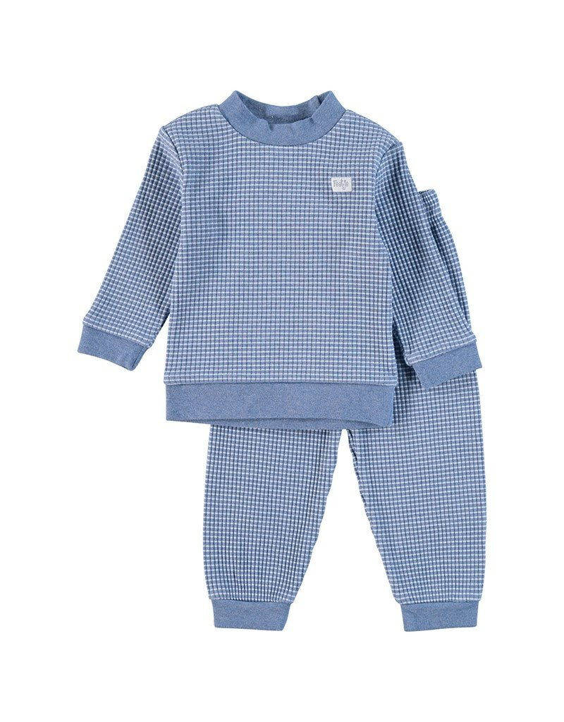 Feetje Baby Feetje Pyjama wafel Blue melange  305533