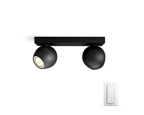 Philips Hue HUE Buckram White Ambiance spot apparent LED 2x5,5W 250lm + switch noir