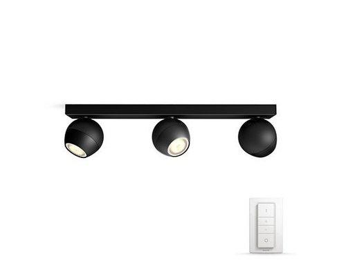Philips Hue HUE Buckram White Ambiance opbouwspot LED 3x5,5W 250lm + switch zwart