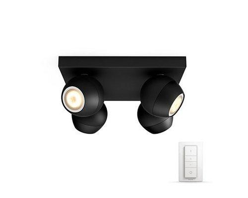 Philips Hue Buckram White Ambiance LED en saillie 4x5,5W 250lm + interrupteur noir