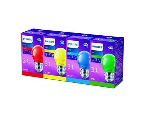 Philips LED lampen gekleurd 4xE27 niet dimbaar